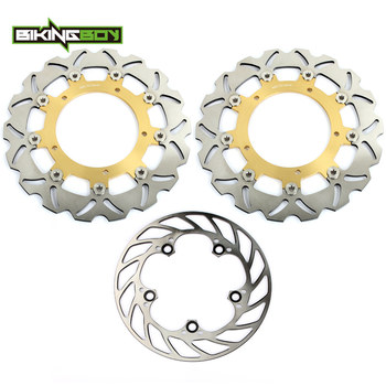 BIKINGBOY For Yamaha 03 04 YZF R6 2003 2004 Front Rear Brake Discs Disks Rotors Motorcycle Full Set Replacement 300mm + 220mm