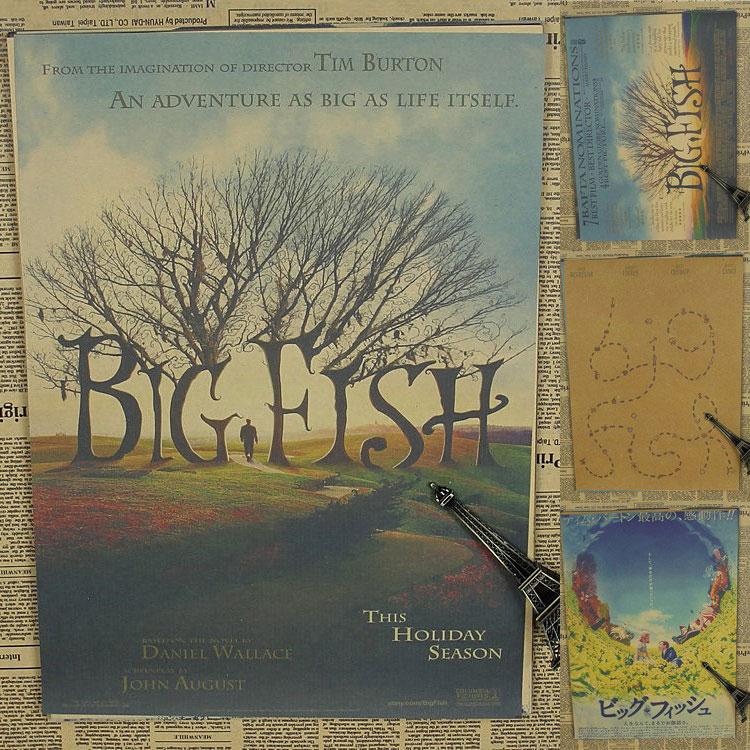 Vintage Poster Big fish Burton Tim Mcgregor retro Movie Poster reminiscent of the old brown paper Hostel retro poster 30x21cm