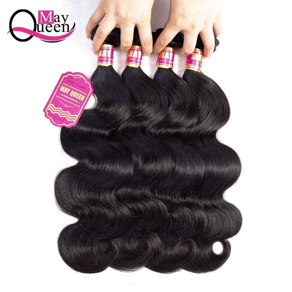 May Queen Hair Malaysian Body Wave Hair Weave 1&3&4Bundles Deals Natural Black Color Hum ...