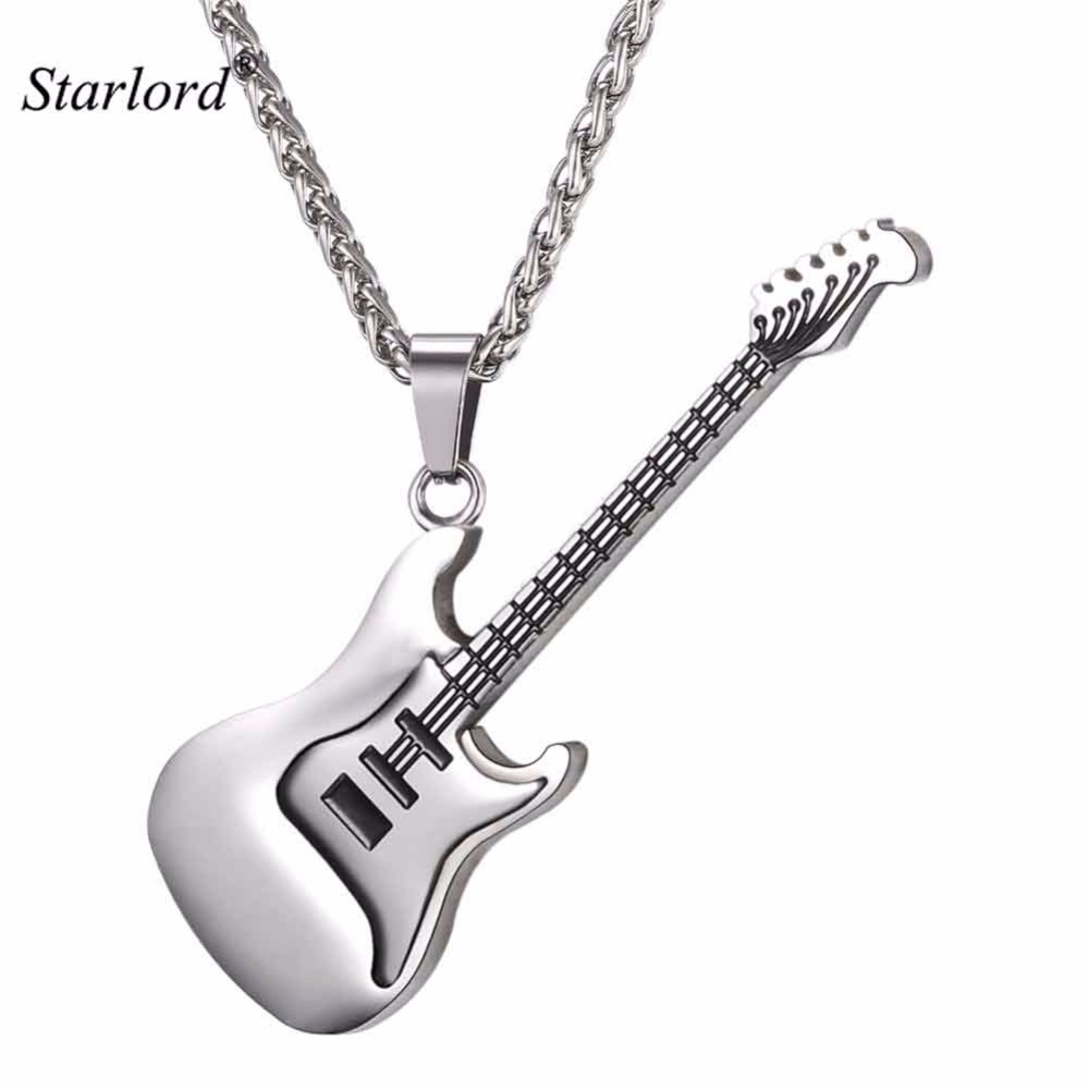 Electric Guitar Pendants & Necklaces Silver Color Stainless Steel For Men Punk Rock Music Jewelry For Men/Women GP2102B