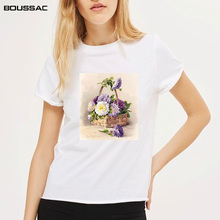 Watercolor painting Floral Print Women T-shirt Female Vintage Women Flowers Printed Tops tshirt Short Sleeve O-neck t Shirts