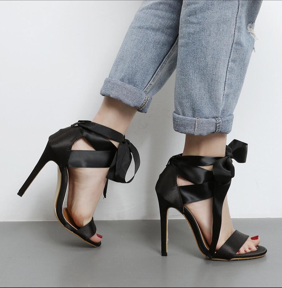 Black ribbon sandals - 2017 New Sexy Satin Ribbon Bow Tie 11cm Fine High Heels Female Sandals Black Valentine Open