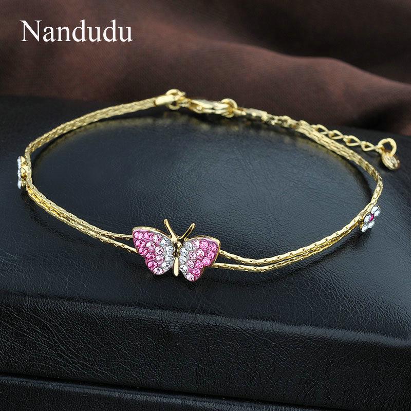 Nandudu Rose Gold Farbe Rosa Kristall Schmetterling Modeschmuck Set - Modeschmuck - Foto 4