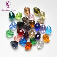 цена на 100pcs/lot Crystal Tear Drop Beads 10x8mm Mixed Color DIY Bead Jewelry Necklace Making AAA Grade