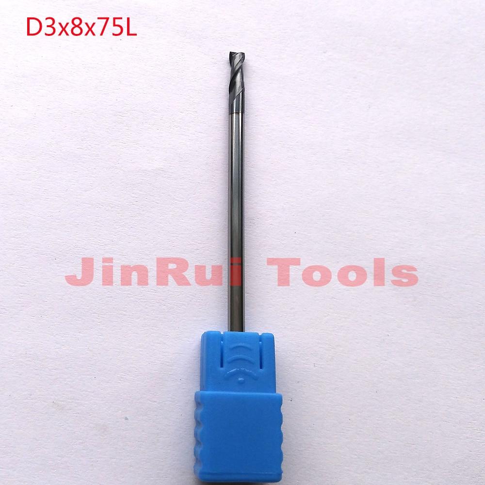 1pc  D3*8*75 HRC55  2 Flutes Flat Square  Solide Carbide End Mills CNC router bit milling cutter knife 1pc d3 8 50 hrc60 2 flutes flat square solide carbide end mills cnc router bit milling cutter knife