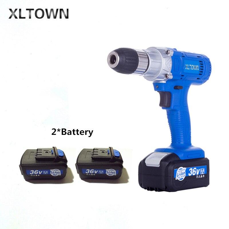 Xltown 21 v haute-vitesse rechargeable au lithium perceuse électrique avec 2 batterie multi-fonction électrique tournevis outils électriques