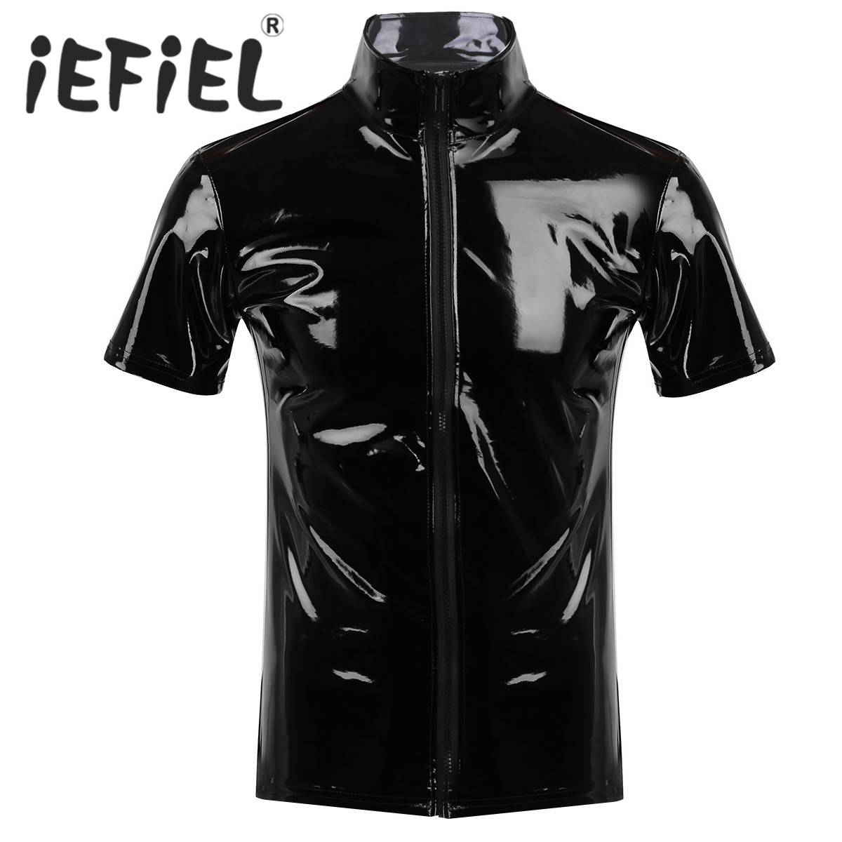 Fashion Unisex Metallic Novelty Hipster PVC Leather Stand Collar Short Sleeves Front Zip Up T-shirt Tops for Clubwear Cosplay