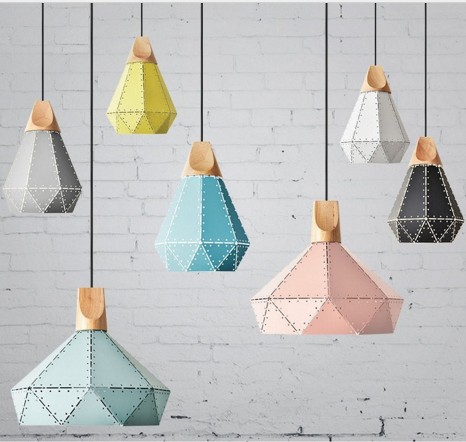 Novelty 3d Led Pendant Lights Diamond Metal Nordic Modern Wooden Metal Lamp Cartoon Creative Hanging Lamp Home Decoration Dining
