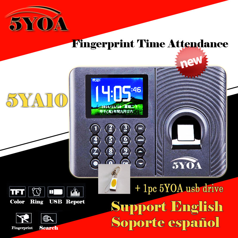 Biometric Fingerprint Time Attendance Clock Recorder Employee Digital Electronic English Spanish Portuguese Voice Reader USB