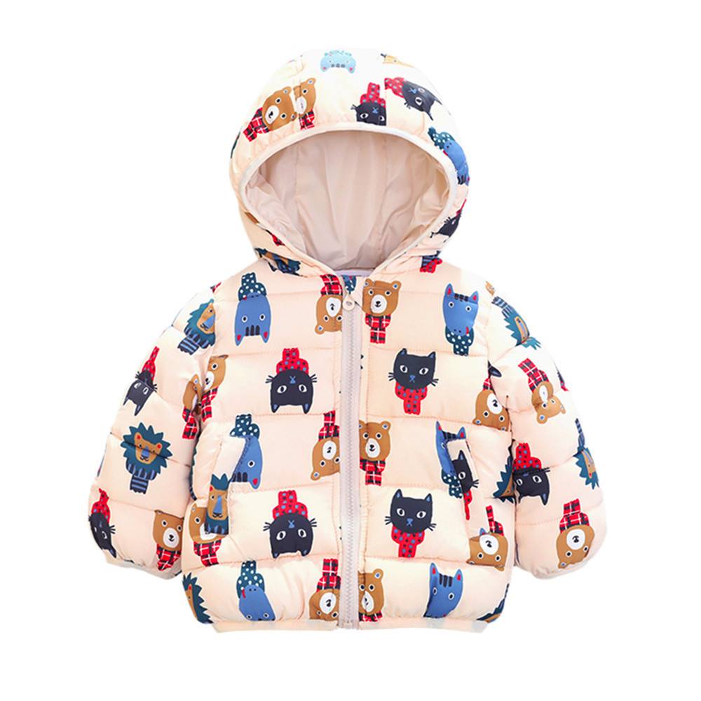 dd975c6e0 Infant Baby Boy Girl Jacket Autumn Bear Cartoon Hooded Coat Winter ...