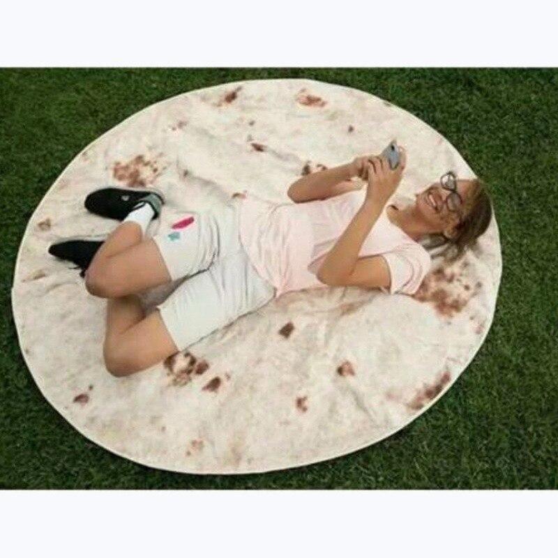 Grappige Sesamzaad Taart Gooi Handdoek Slaapkamer Decoratieve Dekens Ronde Koekjes Gooi Deken Voor Bed Kinderen Verjaardagscadeautjes
