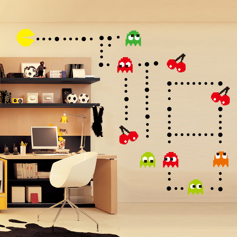 Classic Game vinilo del espacio vinyl Space Invaders Pixel Design Wall Stickers Pack x 42 Retro Decal Peel and Stick Wall Vinyl