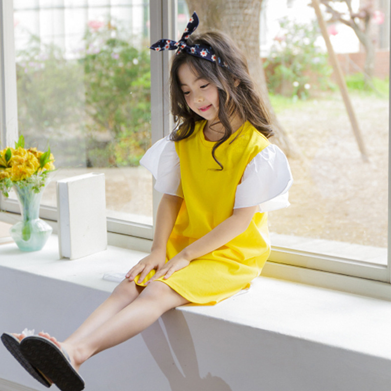 2018 New Summer Kids Girls Cotton Dresses Girl Dress Flare Sleeve Children Patchwork Dress Child Toddler Clothes,#2679 цена
