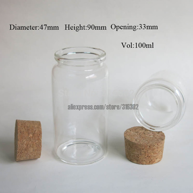 3 x 100ml glass bottle with wood cork, empty corked glass