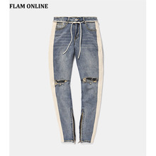 FLAM ONLINE 2019 New Fashion Destroyed Denim Pants Dark ICON Side Stripe Patchwork Ripped Jeans Men Plus String