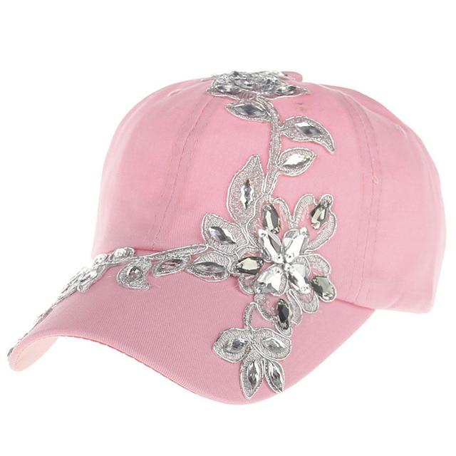 4bc64d715b7 New fashion beauty Flower Diamond snapback caps wholesale pretty design  Adjustable baseball cap hats for Women  04POP May2