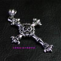 Thailand imports, retro style men a Black Zircon Silver Cross Pendant