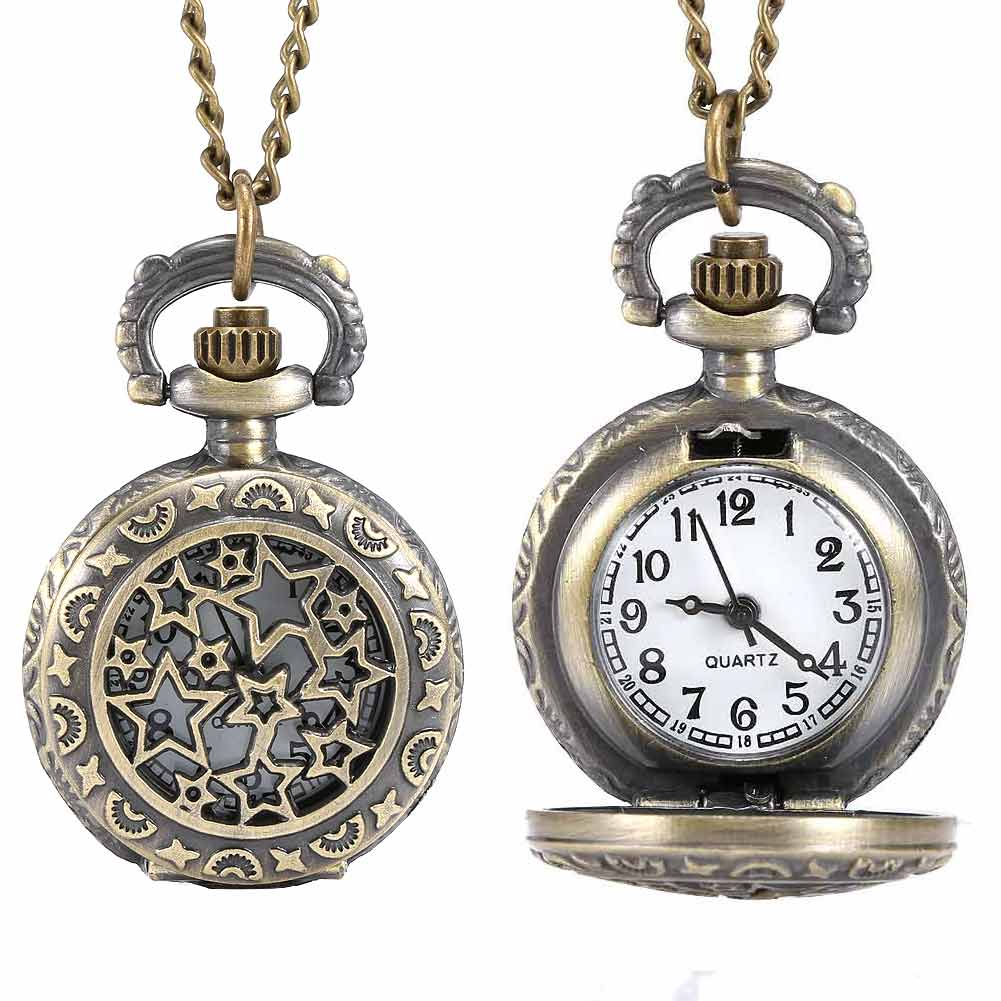 Fashion Vintage Men Women Quartz Pocket Watch Alloy Hollow Out Stars Unisex Sweater Chain Necklace Pendant Clock Gifts L fashion vintage charm black smooth steampunk pocket watch men women necklace pendant clock chain with gift box birthday gifts