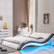 Современный дизайн мягкая кожаная кровать 150 или 180 на выбор