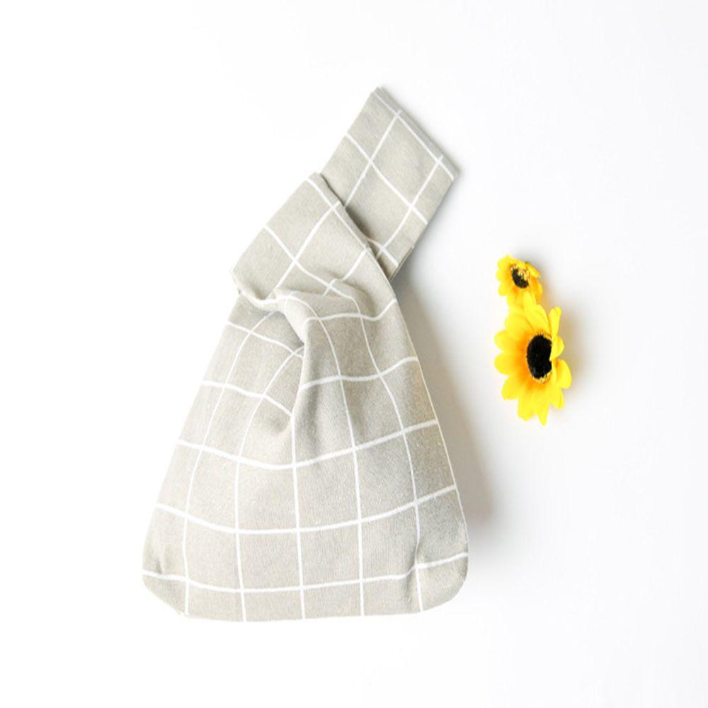 Купить с кэшбэком Japanese Style Portable Cotton Handbag Lattice Pattern Wrist Bag Fashion Tote Bag Handmade Coin Purse Square Bag Key Bag