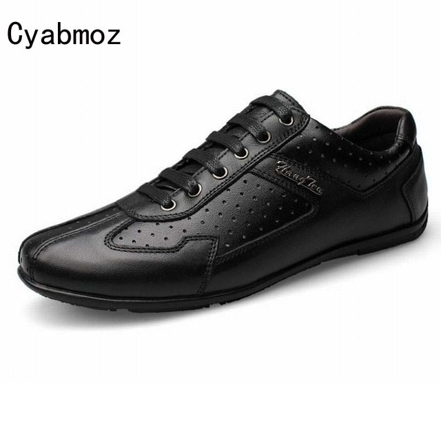 0affc1adb95 Korean style business casual shoes men s genuine leather shoes british male  breathable shoes men vintage lace up driving shoes