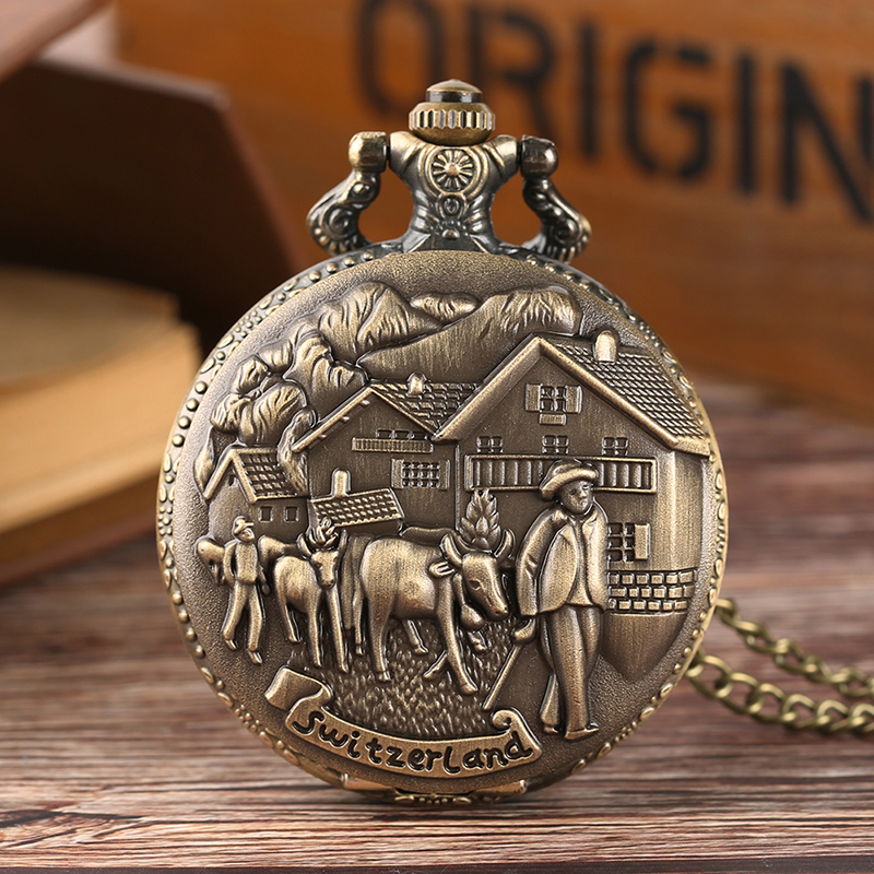 Switzerland Cattle Farmer Quartz Pocket Watch Vintage Necklace Pendant Fob Clock Antique Style Best Gifts For Men Women