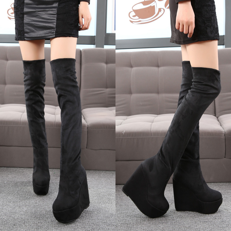 14cm High Heel Women Wedge Boots Stretch Flock Thigh High Boots Fashion Autumn Winter Women Shoes Over The Knee Black Long Boots individual red cup heel over the knee boots chunky heel stretch long booties winter thigh high boots