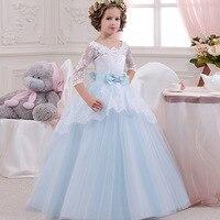 Sweet Flower Girls dress Tulle Gorgeous Scoop Chapel Train Bridesmaid Wedding Dresses Elegant Kids Ball Gown for Girl Light Blue