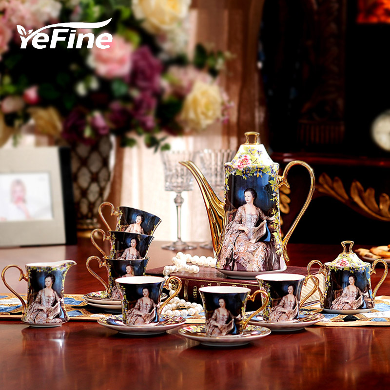 YeFine Bone Porcelain Coffee Sets 15 PCS Wedding Gift With Coffee Pot Coffee Cups And Saucers