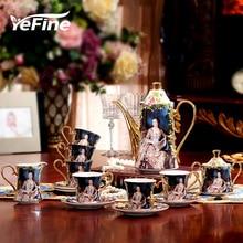 Yefine osso porcelana conjuntos de café 15 pcs presente de casamento com café pote copos de café e pires açúcar tigela leite jarro cerâmica