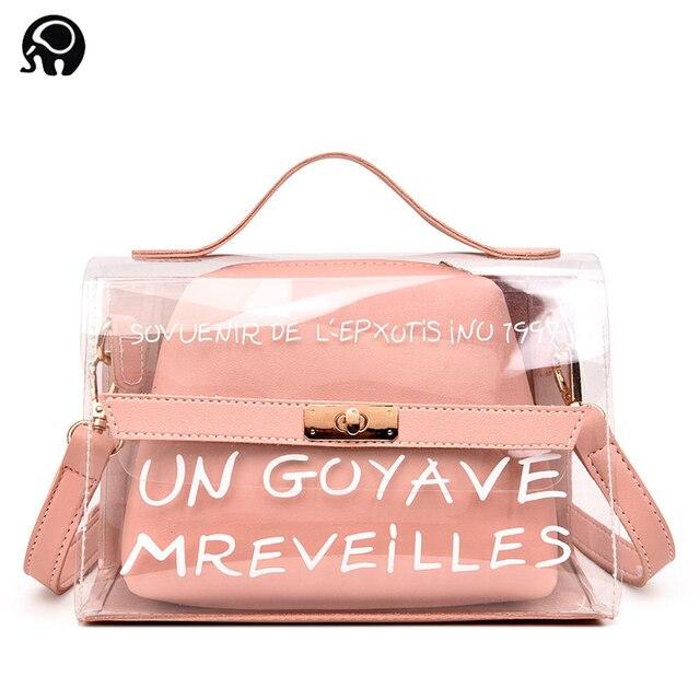 2018 Fashion Women Clear Transparent Handbag Tote Shoulder Bags Beach Bag  Popular Handbags Women Bags Designer dames tassen 6be11eac36f58