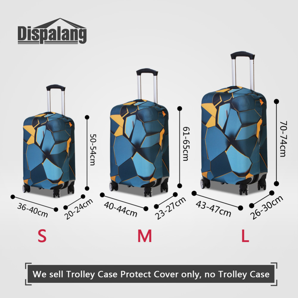 Dispalang Travel Luggage Protective Covers 3D Geometry Print Suitcase Dust Cover For 18-30 Inch Trolley Case Travel Accessories