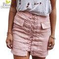 Moda Para Mujer de Otoño con cordones de Gamuza de Cuero Lápiz Falda de Invierno Cruz de Cintura Alta Mini Falda de la Cremallera de Split Bodycon Corto faldas