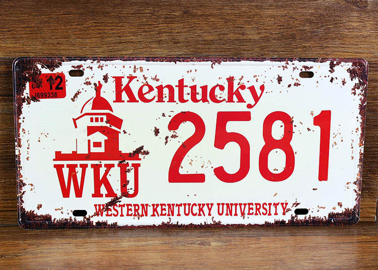 UA-CP-00176 New metal painting vintage tin signs License car number  2581 kentucky cafe pub wall art craft decor 30*15 CM