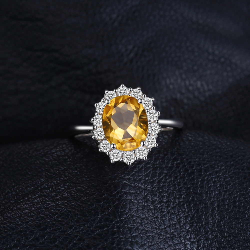 Image 2 - JewPalace Princess Diana Genuine Citrine Ring 925 Sterling Silver Rings for Women Engagement Ring Silver 925 Gemstones Jewelryring 925ring forrings for women -