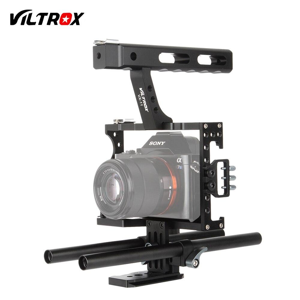 Viltrox 15mm Rod Rig DSLR Caméra Vidéo Cage Kit Stabilisateur + Top Poignée Grip pour Sony A9 A7II A7RII A7SII A6300 A6500/GH4/EOS M5