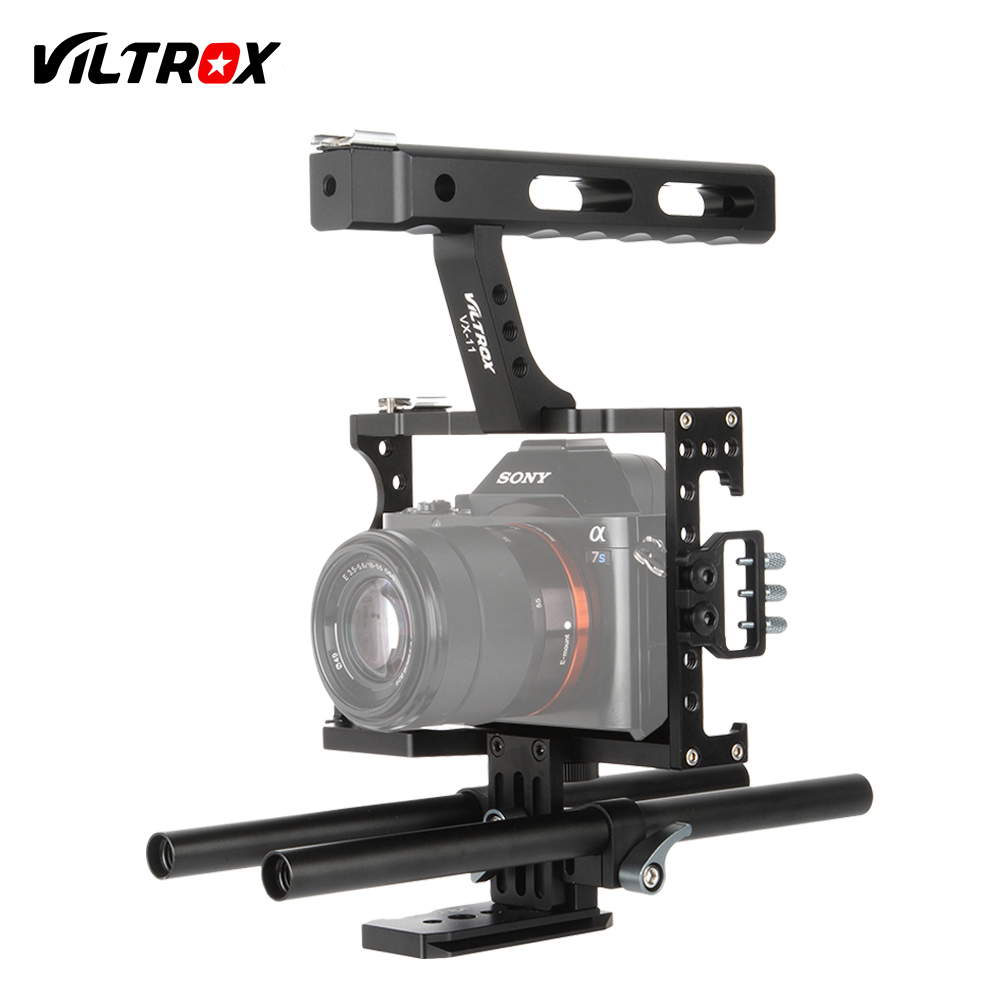 Viltrox 15mm Rod Rig DSLR Camera Video Cage Kit Stabilizer + Top Handle Grip for Sony A7 II A7RII A7SII A6300 A6000/GH4/EOS M5 bmpcc cage dslr rig top handle handgrip video system for blackmagic pocket camera p0016911 free shipping