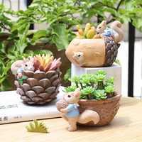 Flowerpot Cartoon Cute Animal Squirrel Fleshy Flower Pot Resin Succulent Pots Desktop Decoration For Office