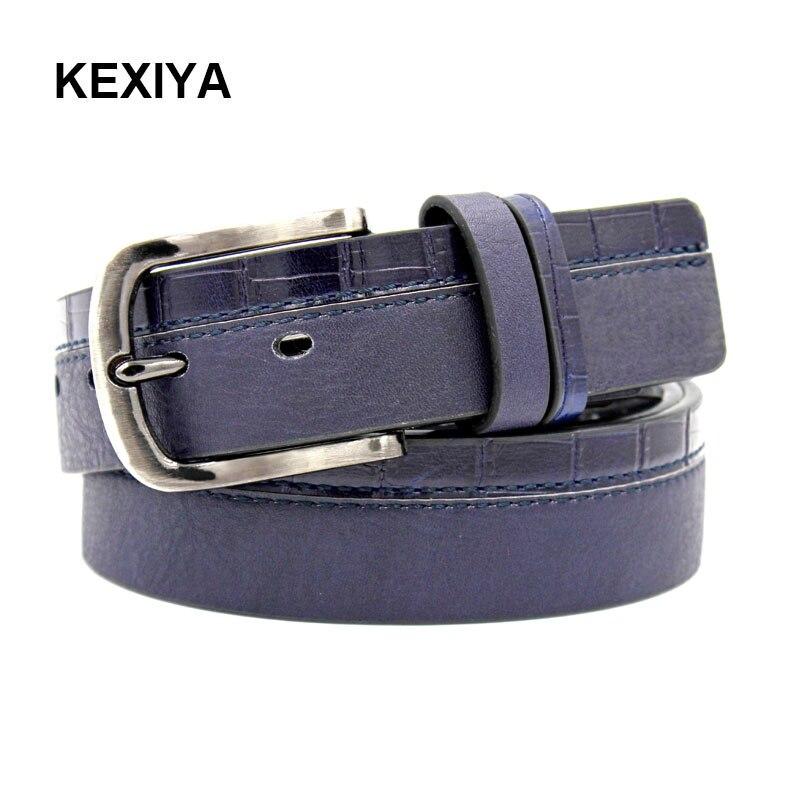 KEXIYA New Fashion Designer Men Crocodile Jeans Belt Black Dark Blue Wide Naval Belt Casual Simple Men Belt