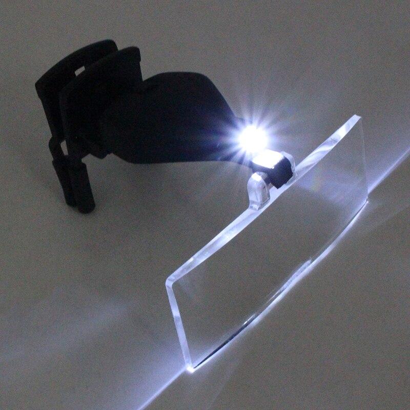1.5X 2.5X 3.5X Gafas Clip Lupa Lupa de cabeza manos libres con luz - Instrumentos de medición - foto 2