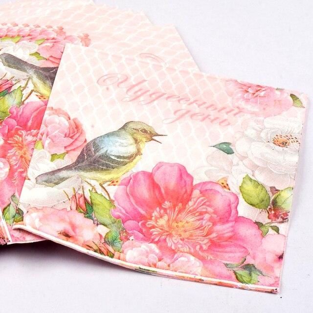 20 Pz Tovaglioli Di Carta Velina Stampata Fiore Rosa Uccello