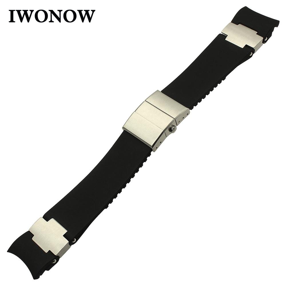 Natural Rubber Watchband 22mm for Ulysse Nardin DIVER 353-98LE-3/ARTEMIS|263-92-3C/924 Men's Watch Band Steel Buckle Belt Strap ulysse
