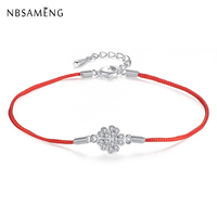 100 925 Sterling Silver Bracelet Cherry Blossom Crystal Red Rope Bracelets Bangles For Women Fine Jewelry