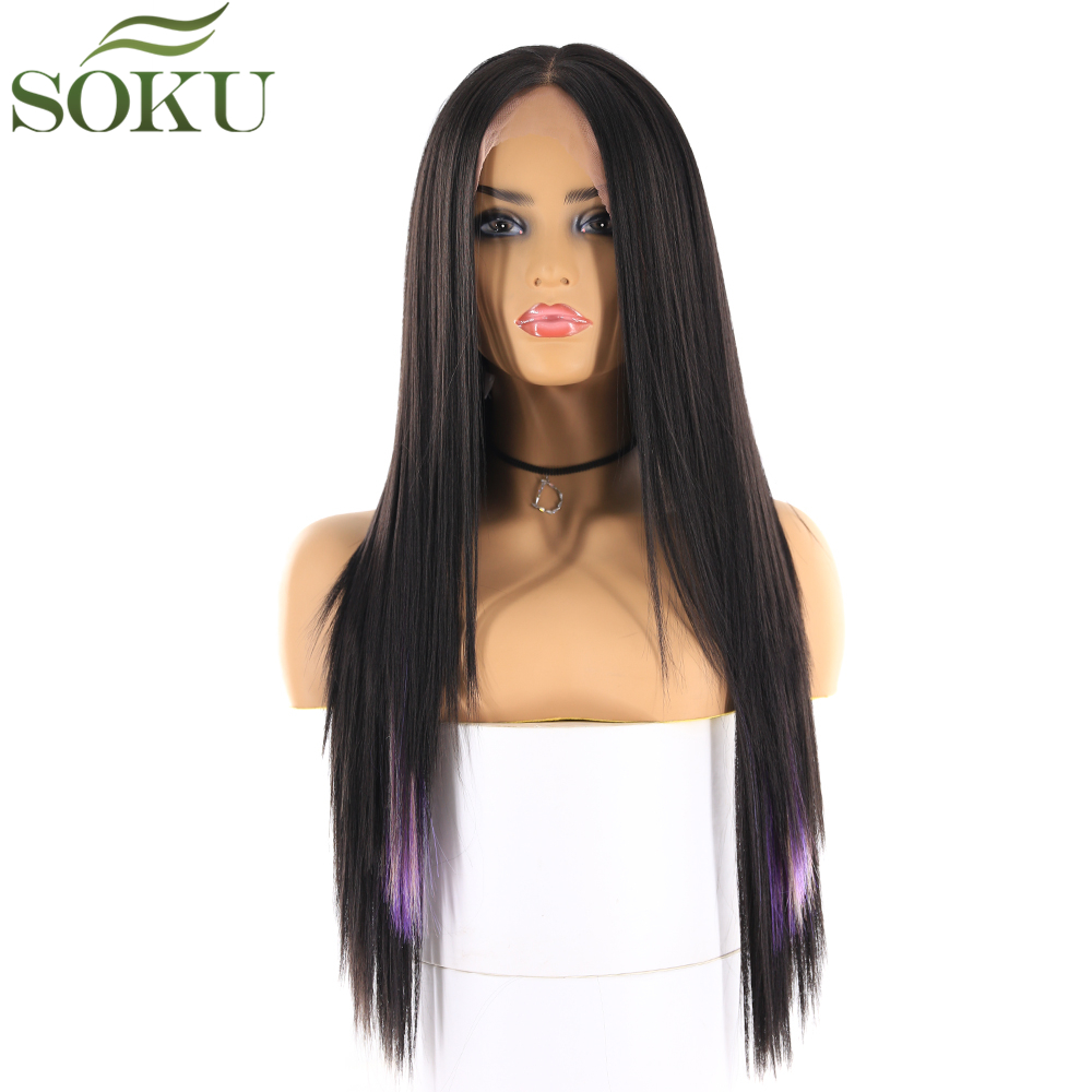 Wigs Lace-Front Purple Synthetic Black-Women Straight-Middle-Part for Dark-Root High-Temperature-Fiber