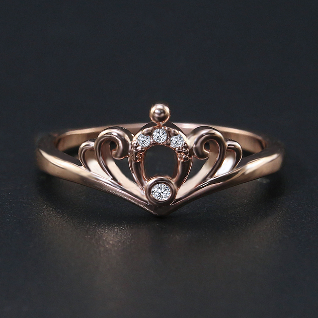 c8daab6f1f AAA Cubic Zirconia Princess Crown Ring for Women Engagement Wedding Promise  Rings Rose Gold Silver Color