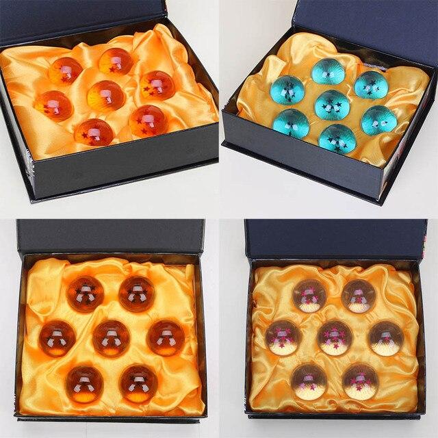 Bolas de Cristal de Dragon ball 7 pcs conjunto Completo 4 cm 7 estrelas Dragonball Figuras de Ação Estrela Negra Bolas Azuis figurinhas brinquedo de Presente