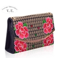 Vintage Embroidery Women Flower Handbag Fashion Double Face Embroidered Clutch Shoulder Bag Bolsas