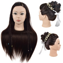 "Free Shipping 26"" Synthetic Hair Styling Training Mannequin Head Cosmetology Manikin Head Hair Practice Wig Head With Free Clamp(China)"