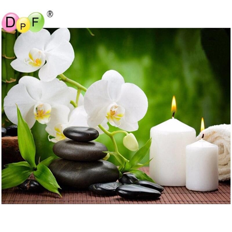 DPF Piazza Piena di Diamante DIY Pittura Orchidea Candele Pietre diamante Ricamo Punto Croce Strass Mosaico Pittura Regalo