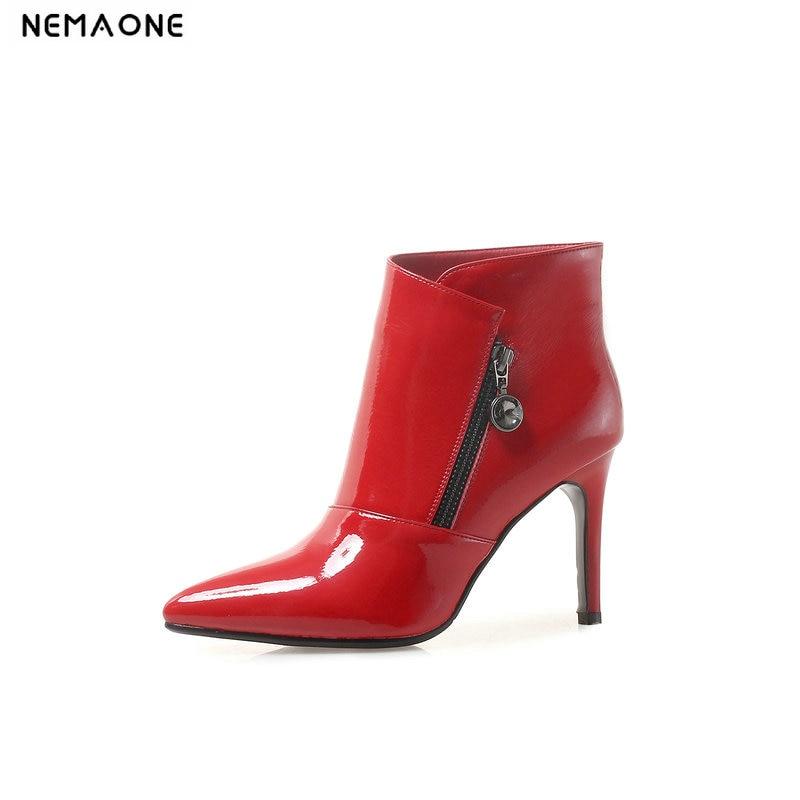 Donne Caviglia tacchi Sposa Scarpe Nero Da Rosso Donna Stivali Grandi rosso  Bianco Alti Alla Dimensioni Beige Di Autunno Signore ... f9fd7c05dd2